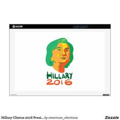 Hillary Clinton 2016 President Laptop Decals. Illustration showing head of Democrat presidential candidate Hillary Clinton looking up with words Hillary 2016. #americanelections #elections #vote2016 #election2016