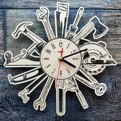 Joiner Tools Wall Art Clock Clocks Garage Sign Handmade Home Decor Gift Mechanic Tools Birthday Gifts Personalizible Tools Clock Custom Handmade Wall Clocks, Handmade Home Decor, Unusual Clocks, How To Make Wall Clock, Mechanic Tools, Garage Signs, Wooden Clock, Kitchen Wall Art, Ideas