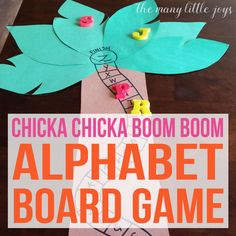 This alphabet skills game is perfect for preschoolers and is a great extension activity to go along with the beloved book, Chicka Chicka Boom Boom. Learning Letters, Alphabet Activities, Pre K Activities, Teaching The Alphabet, Language Activities, Alphabet Games For Preschoolers, Kids Learning Activities, Cognitive Activities, Spelling Activities
