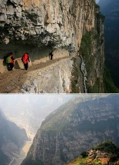 The children of Gulucan village in West China take their lives in their hands every day with a walk to school which involves navigating a narrow path carved into a 5,000-ft cliff-side. It is the only way they can get to the school, which with its five concrete rooms is known as the best construction in the village. (Link)