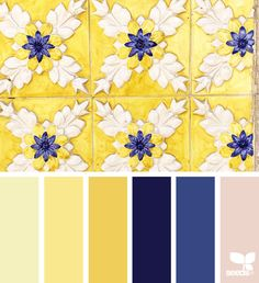 New Kitchen Colors Yellow Walls Design Seeds 64 Ideas Blue Wall Colors, Blue Colour Palette, Color Yellow, Blue Yellow, Navy Blue, Yellow Color Combinations, Colour Schemes, Decor Scandinavian, Blue Tiles