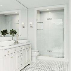 Modern Bathroom, Small Bathroom, Master Bathroom, Timeless Bathroom, Bathroom Ideas White, Long Narrow Bathroom, Home Depot Bathroom, Bathroom Stuff, Bathroom Signs
