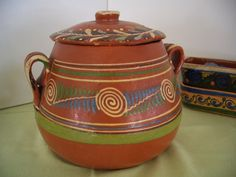 Vintage Mexican Pottery Bowl & Lid Tlaquepaque- my Tita used to cook Pinto Beans in one of these when I was a child