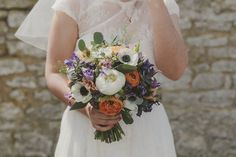 Bridal Bouquet | Lace Charlie Brear Wedding Dress | Barn Wedding | Pastel Flowers | DIY Decor | Lavender Dessy Bridesmaid Dresses | Images by Millie Benbow Photography | http://www.rockmywedding.co.uk/kiera-iain/