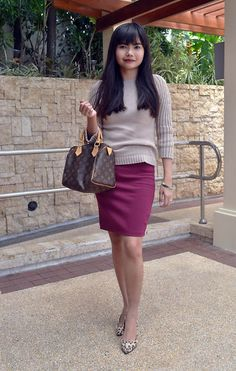 I Am Alexa│Cebu Fashion, Travel and Style Tips by Alexa Martin: Wine-colored pencil skirt, knit sweater, Louis Vuitton Speedy Primark leopard heels Fashion Clothes Online, Fashion Outfits, Womens Fashion, Ladies Fashion, Buy Wine Online, Louis Vuitton Speedy 25, Woman Wine, Leopard Heels, Best Handbags