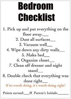 Chore Chart Checklist (detailed list for each room)