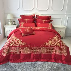 4/6/9-Pieces Luxury satin Embroidery Bedding Set King Size Queen Bed Set red wedding Duvet Cover Bed Sheet Bed Linen #Affiliate