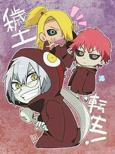Sasori, Deidara, Kabuto, cute, chibi, ressurected, text, funny; Naruto