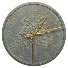 Whitehall Products Tree of Life Indoor/Outdoor Wall Clock Bronze Verdigris - 02240 Outdoor Wall Clocks, Outdoor Walls, Indoor Outdoor, Outdoor Living, Whitehall Products, Sand Casting, Tree Of Life, Cottage Style, Old World