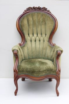 Vintage Chair with tufted sage green chenille upholstery and cherry wood frame. Description from adorefolklore.com. I searched for this on bing.com/images