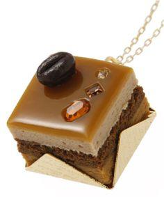 Cute Swarovski Petit Mocha Cake Necklace Japan,Q-pot.Parlor B704 0296
