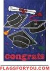 Congrats Hats Applique House Flag