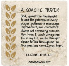 A Coach's Prayer