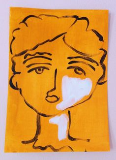 Face of a woman No. 4 - a portret in acrylic paint door XantheCS op Etsy