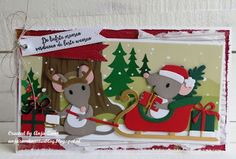 Handmade Christmas card by DT member Anja with Collectables Eline's Mice Family ( and Eline's Sleigh from Marianne Design Holiday Cards, Christmas Cards, Christmas Ornaments, Holiday Decor, Marianne Design Cards, Kids Cards, Handmade Christmas, Scrapbook Cards, Making Ideas