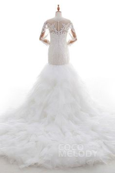 Fancy Trumpet-Mermaid Illusion Dropped Chapel Train Lace and Tulle Ivory 3/4 Length Sleeve Zipper With Buttons Wedding Dress with Appliques and Tiered LD4513