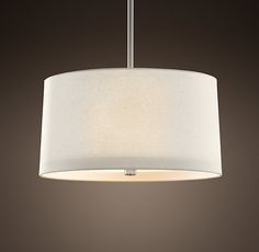RH's Round Linen Shade Pendant:Our elegant fabric shade pendants add a classically simple statement to your dining room.