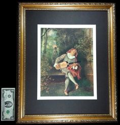 1937 Vintage Framed Print The Banjo Player by Watteau Metropolitan Museum | eBay
