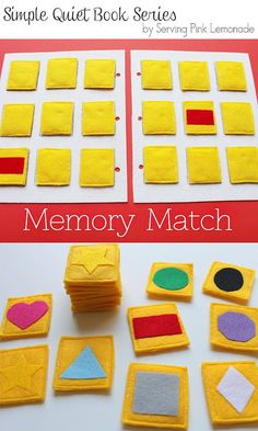 Tutorial for memory match page. Good ideas for making it. Simple Quiet Book Series - Part 4 - Memory Match Game--good idea, could make different tiles for it as the child grew too. Diy Quiet Books, Baby Quiet Book, Felt Quiet Books, Book Activities, Toddler Activities, Indoor Activities, Summer Activities, Activity Books, Diy For Kids