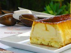 pastel de quesitos y sobaos. Un postre de cuchara entre el pudín y el flan de queso Cheesecake, Pudding, Desserts, Empanada, Quiche, Drinks, Ideas, Gastronomia, Microwaves