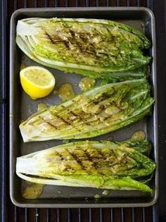 Grilled Romaine Hearts with Caesar Vinaigrette - the dressing is the best!  I used it as a sauce for baked tilapia.  Mmmm!