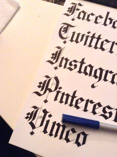 calligraphy play: social media.  black ink on translucent rag.  lettering style: glasgow