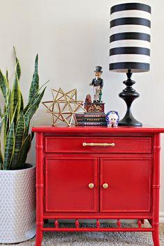 bamboo nightstand makeover using glossy spray paint, painted furniture Red Painted Furniture, Bamboo Furniture, Paint Furniture, Furniture Makeover, Home Furniture, Furniture Ideas, Smart Furniture, Lego Furniture, Furniture Design