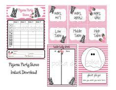 PAJAMA PARTY BUNCO Set Score Card Sheet with by PolkaDotDigitals
