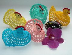 Items similar to set of five chicken  CROCHET   in same or different colours Easter Doily on Etsy