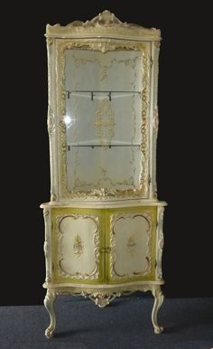 French Provincial Hand Painted Curio Cabinet Hutch Desk Made in ...