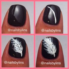 1⃣Take any polish, preferably dark so the feather stands out more. And paint your nails. I'm using sally Hansen grey area 2⃣using any color cream polish or acrylic paint, paint the spine of the feather as big or small as you like 3⃣ start filling out the feather making the lines bigger towards the spine and tapering at the ends. 4⃣ Add more lines until the feather looks fluffy and full. Add a top coat and voila! Your done. #FrameMagic #nails #pictorial #nailart #feathernails #grey #white…
