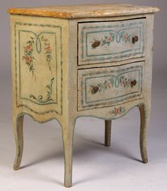 "Auction Date SATURDAY, 02/23/13 5178 601   A hand-painted two drawer bombe commode having a faux marble top circa 1910.     $ 100/$ 200     Dimensions: Ht: 26"" Width: 22.5"" Depth: 13.5"""