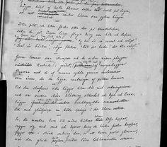 """Rydbergs första manuskript till dikten """"De badande barnen"""", bild 1."""