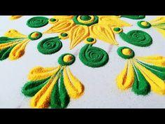 Very Easy and Quick Flower Rangoli Designs Rangoli Patterns, Colorful Rangoli Designs, Rangoli Designs Diwali, Rangoli Designs Images, Beautiful Rangoli Designs, Mehndi Designs, Flower Rangoli, Flower Mandala, Special Rangoli