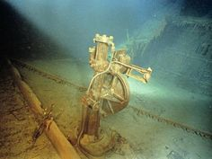 A view of the steering motor on the bridge of the Titanic. Image copyright Emory Kristof/National Geographic.