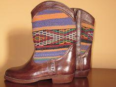 Botas y botines - Botas cuero y kilim artesanales talla 38 - hecho a mano por EthnicArt en DaWanda