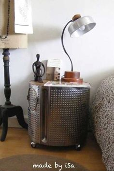 Top 23 Extremely Awesome DIY Industrial Furniture Designs***An old washing machine drum makes an industrial-looking nightstand Furniture For You, Furniture Projects, Furniture Decor, Furniture Design, Furniture Plans, Metal Furniture, Furniture Showroom, Furniture Assembly, Furniture Movers
