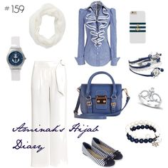 Aminah´s Hijab Diary #hijab #muslimah #nautical #white #blue #stripes #modest #fashion #style #look #outfit #ootd #summer #sea