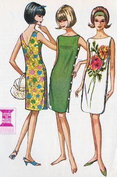 Misses Summer Shift Dress Vintage Sewing Pattern, Quickie Vintage Dress Patterns, Vintage Dresses, Vintage Outfits, 1960s Dresses, Moda Vintage, Vintage Pink, Vintage Style, Retro Fashion, Vintage Fashion