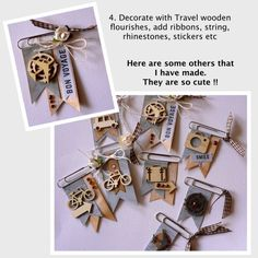 Pocket letter paper clip embellishments with wood die cuts