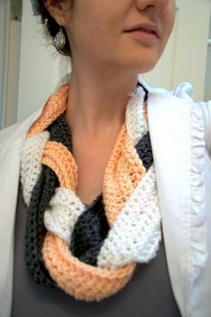 Braided Crochet Scarf as per directions at http://rookiecrafter.blogspot.com/2013/01/braided-crocheted-scarf.html