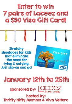 A giveaway for Laceez no-tie shoe laces for kids, plus a $50 Visa Gift Card to buy your child a new pair of shoes!