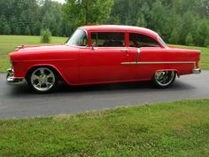 1955 Chevrolet Bel Air/150/210  55 Chevy 210 2dr sedan Hot Red w/ Red Leather interior Pro Street 5 speed #ad