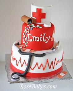 Nursing School Graduation Cake... a perfect cake for a nurses birthday or graduation!  Click over for more pics and details on how I made it!