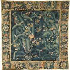A FLEMISH FEUILLES DE CHOUX TAPESTRY MID 16TH CENTURY, POSSIBLY ENGHIEN OR GRAMMONT