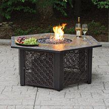 Cheap Endless Summer Hexagonal Bronze Outdoor Fire Pit w Slate Tile Mantel Outdoor Fire Table, Outdoor Gas Fireplace, Gas Fire Pit Table, Outdoor Living, Deck Table, Backyard Fireplace, Outdoor Spaces, Fire Pit Bowl, Fire Bowls