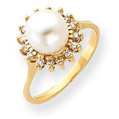 14k Yellow Gold 7.5mm Flower Freshwater Cultured Pearl G-H SI2 Quality Diamond ring SKU: QGY4378PL/AA $745.99