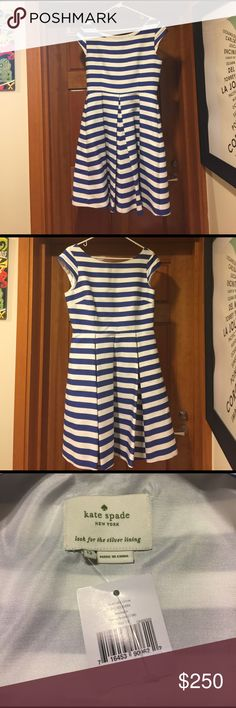 Kate Spade Mariella Dress Brand new with tags!  This beautiful blue and white striped party dress has pockets and a fit and flare skirt that will twirl when you dance!  Boat neck and cap sleeves finish off this beauty. Size 12. kate spade Dresses