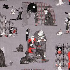 grey The Odditys castle vampire fabric by Elizabeth's Studio USA