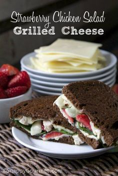 Strawberry Chicken Salad Grilled Cheese - Easy homemade chicken salad combined with grilled cheese for a quick gourmet sandwich! #spon SnappyGourmet.com
